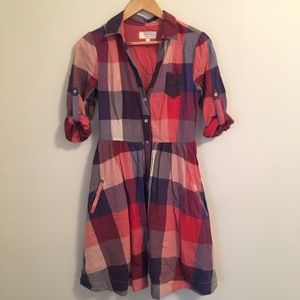 Anthropologie red white blue checked shirt dress